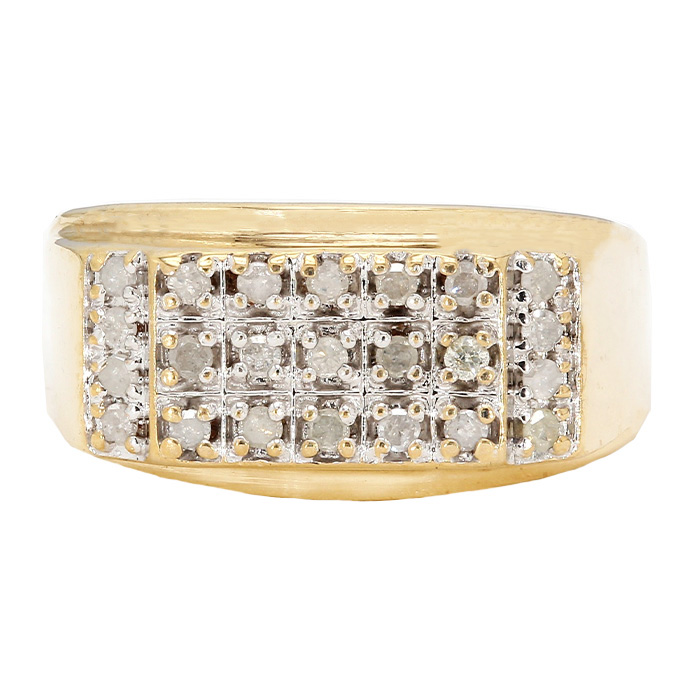 MENS DIAMOND RING- 10K YELLOW GOLD| 4.5G| 0.50CT TDW| SIZE 13.25""