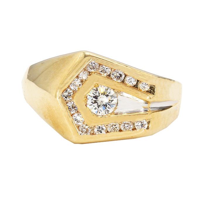 "MENS DIAMOND RING- 14K YELLOW GOLD| 6.0G| 0.75CT TDW| SIZE 10"""