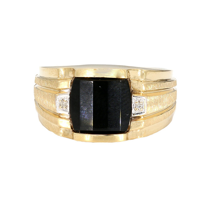 BLACK ONYX RING- 10K YELLOW GOLD| 6.3G| SIZE 9.50""