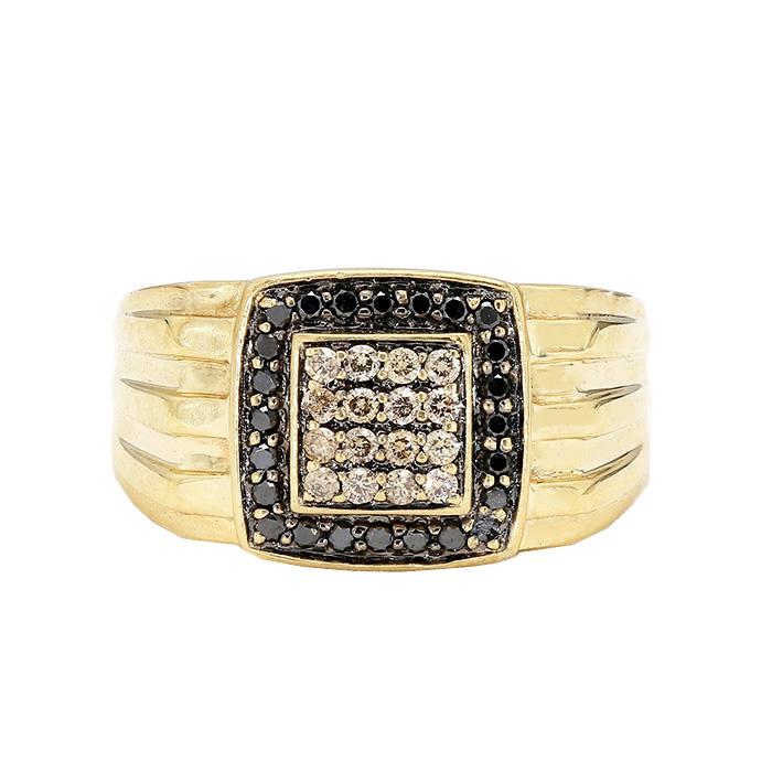 "MENS DIAMOND RING- 10K YELLOW GOLD| 7.2G| 0.50CT TDW| SIZE 10"""
