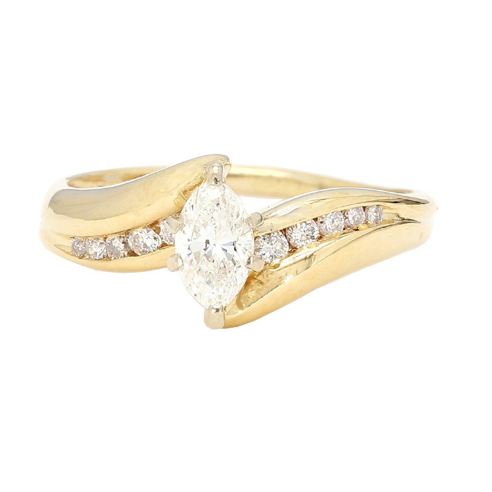 "DIAMOND ENGAGEMENT RING- 14K YELLOW GOLD| 2.7G| 0.51CT(C)- 0.65CT TDW| SIZE 6.50"""