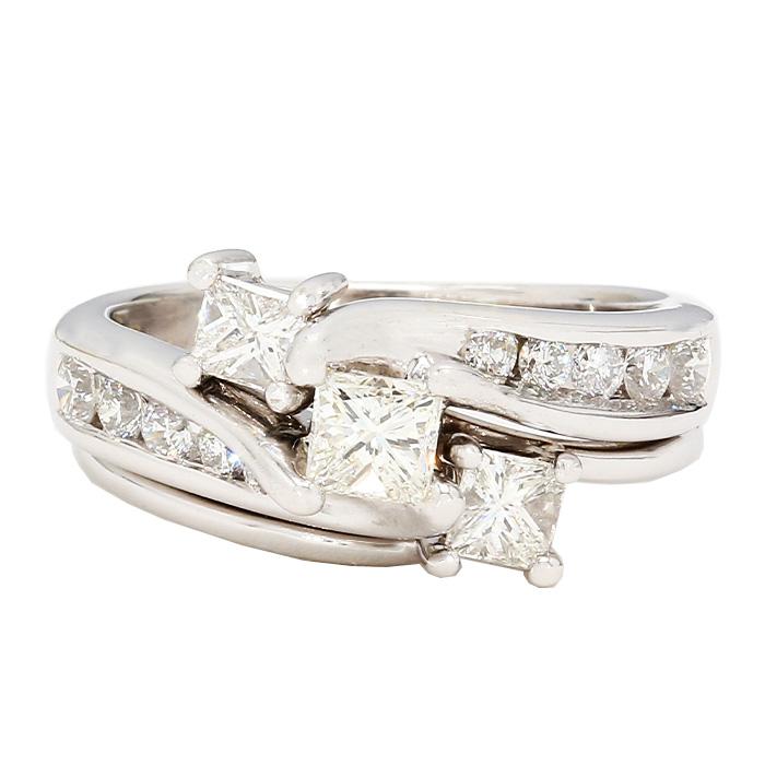 "DIAMOND BRIDAL SET- 14K WHITE GOLD  5.9G  1.04CT TDW  SIZE 5.25"""