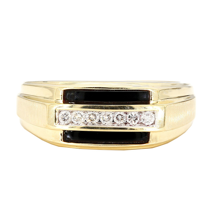 MENS DIAMOND RING- 10K YELLOW GOLD| 6.1G| 0.25CT TDW| SIZE 8.25""