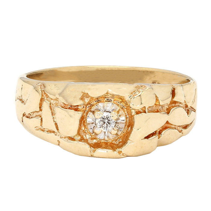 "MENS DIAMOND RING- 10K YELLOW GOLD| 5.0G| 0.10CT TDW| SIZE 9.25"""