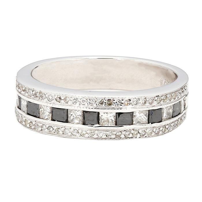 "DIAMOND WEDDING BAND- 10K WHITE GOLD| 7.8G| 1.21CT TDW| SIZE 10"""