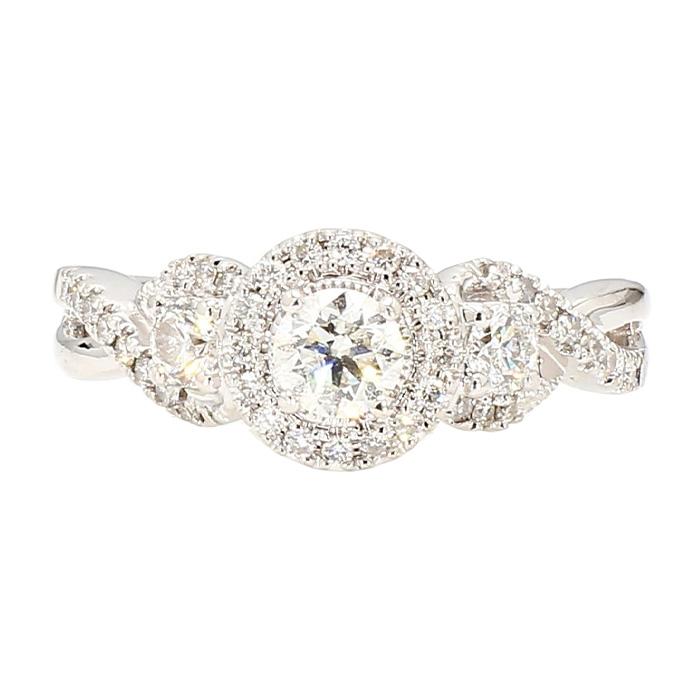 "DIAMOND ENGAGEMENT RING- 14K WHITE GOLD| 6.7G| 0.41CT(C)| 1.50CT TDW| SIZE 8"""