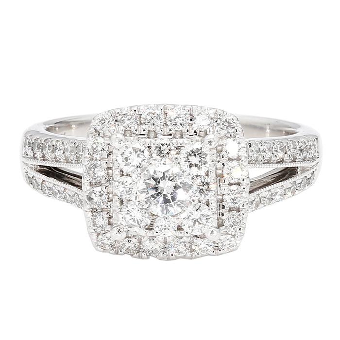 "DIAMOND ENGAGEMENT RING- 14K WHITE GOLD| 4.8G| 1.50CT TDW| 7.50"""