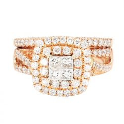 DIAMOND BRIDAL SET- 14K ROSE GOLD| 9.6G| 2.50CT TDW| SIZE 5.50""