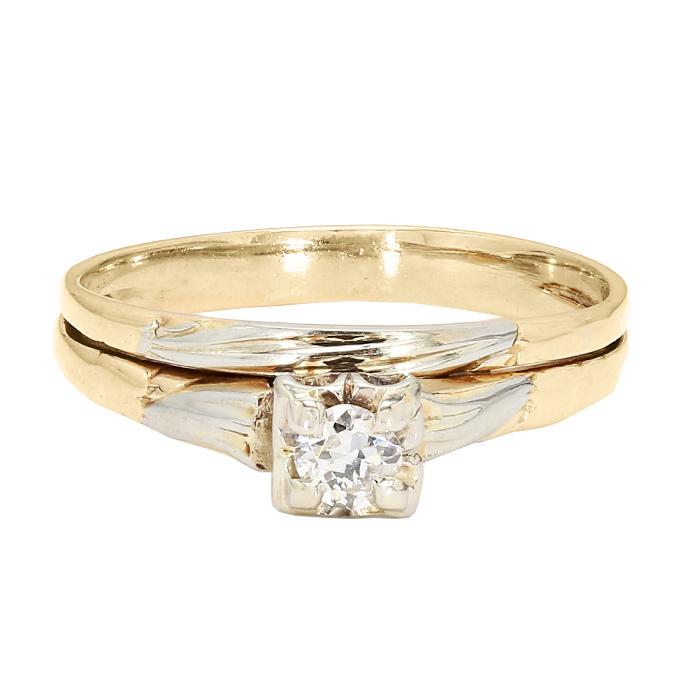 "DIAMOND BRIDAL SET- 14K YELLOW GOLD  2.3G  SIZE 7.50"""