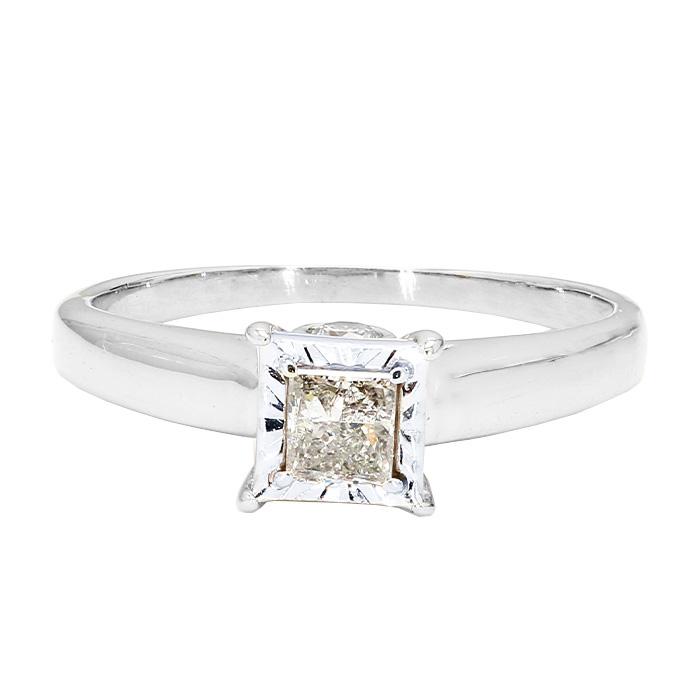 "DIAMOND ENGAGEMENT RING- 10K WHITE GOLD| 2.5G| 0.60CT TDW| SIZE 8"""