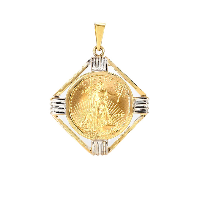 22K GOLD 1/10TH OUNCE LIBERTY COIN IN 14K GOLD BEZEL| 5.8G