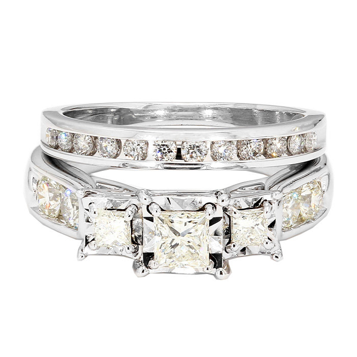 "DIAMOND BRIDAL SET- 10K WHITE GOLD| 6.7G| 1.25CT TDW| SIZE 6"""
