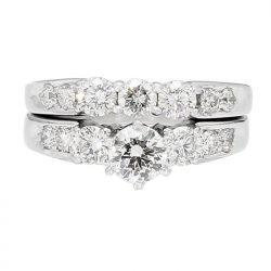"DIAMOND BRIDAL SET- 14K WHITE GOLD| 8.9G| 0.51CT(C)-F/SI1| 2.02CT TDW| SIZE 5.25"""
