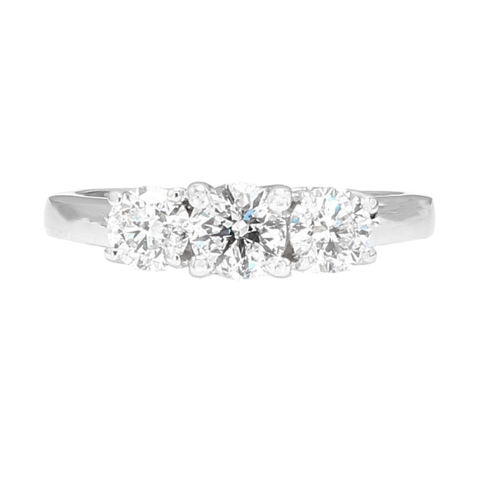 DIAMOND ENGAGEMENT RING- 14K WHITE GOLD| 3.7G|1.00CT TDW| SIZE 6""