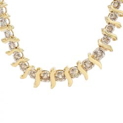 DIAMOND NECKLACE AND BRACELET SET- 14K YELLOW GOLD| 31.2G| 4.10CT TDW
