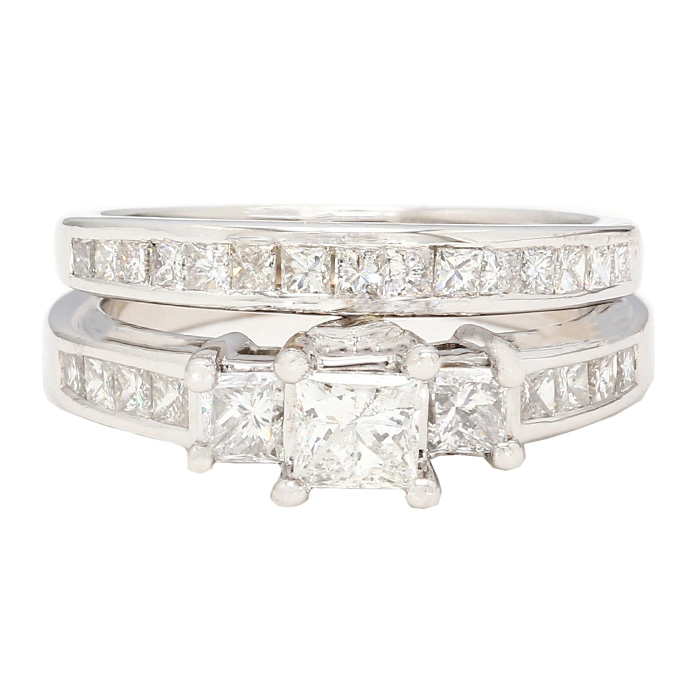 "DIAMOND BRIDAL SET- 14K WHITE GOLD| 5.7G| 1.00CT TDW| SIZE 5.25"""