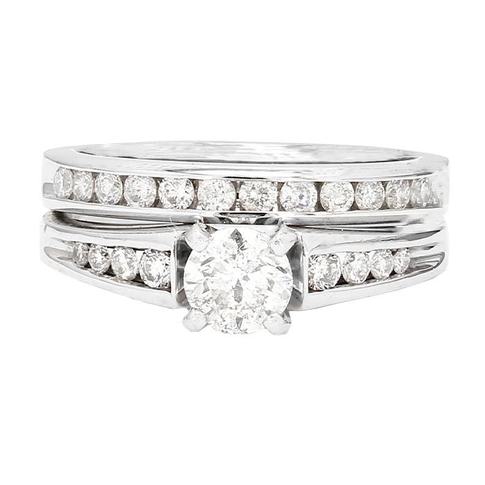 "DIAMOND BRIDAL SET- 14K WHITE GOLD| 0.45CT(C)| 1.10CT TDW| SIZE 5"""