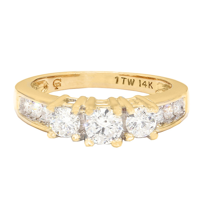 "DIAMOND ENGAGEMENT RING- 14K YELLOW GOLD RING| 4.4G|  1.00CT TDW| SIZE 7"""