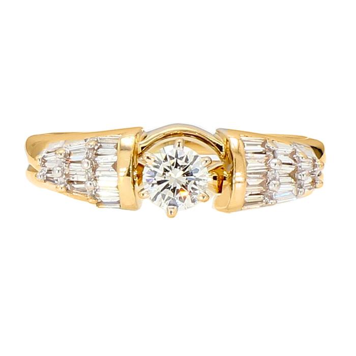 "DIAMOND BRIDAL SET- 14K YELLOW GOLD  5.1G  0.33CT(C)  0.66CT TDW  SIZE 7"""