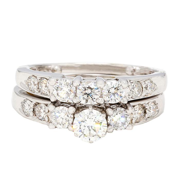 "DIAMOND BRIDAL SET- 14K WHITE GOLD| 10.7G| 0.50CT(C)- H/SI| 2.00CT TDW| SIZE 8"""