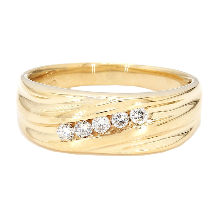 MENS DIAMOND BAND- 14K YELLOW GOLD| 6.0G| 0.25CT TDW| SIZE 10.75""
