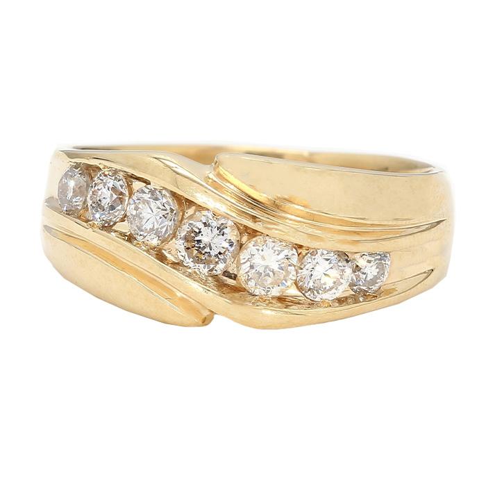 "MENS DIAMOND BAND- 14K YELLOW GOLD| 8.7G| 1.05CT TDW| SIZE 10"""