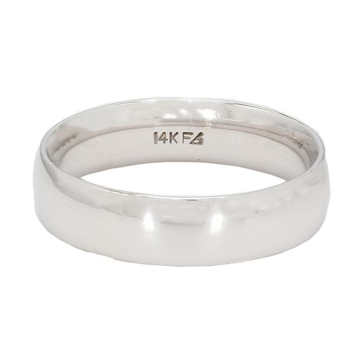 MENS WEDDING BAND- 14K WHITE GOLD| 5.0G| SIZE 8.50""