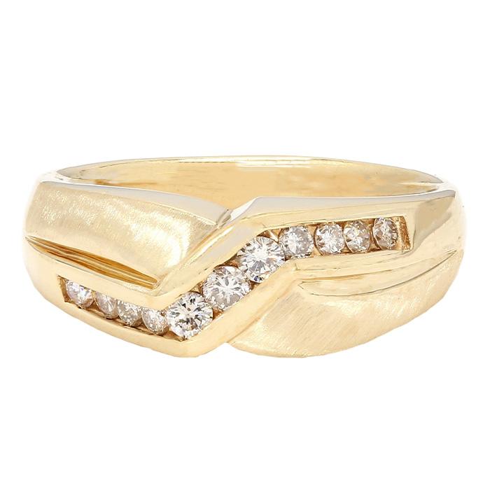"MENS DIAMOND BAND- 14K YELLOW GOLD  8.1G  0.50CT TDW- H/SI  SIZE 11.50"""