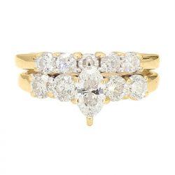 "DIAMOND BRIDAL SET- 14K YELLOW GOLD| 6.5G| 0.72CT(C)- G/SI2| 1.75CT TDW| SIZE 6.50"""