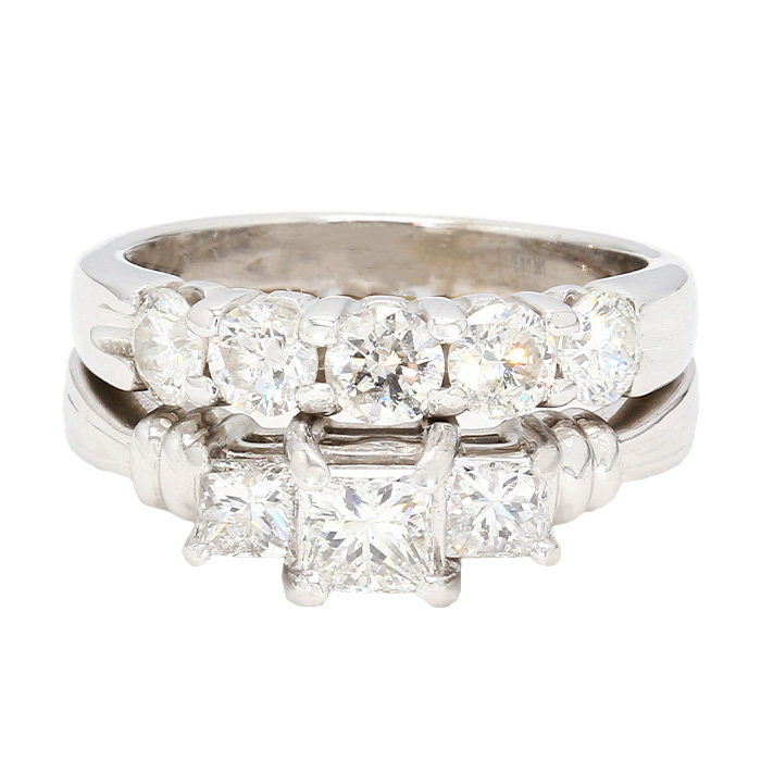 DIAMOND BRIDAL SET- PLATINUM| 14K GOLD| 10.3G| 1.50CT TDW- G/H-SI| SIZE 6.50""