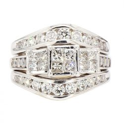 DIAMOND BRIDAL SET- 10K/14K GOLD| 11.1G| 2.00CT TDW| SIZE 7""