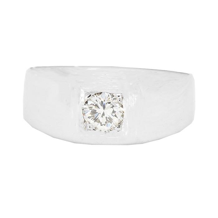 "MENS SOLITAIRE DIAMOND RING- 14K WHITE GOLD| 7.3G| 0.51CT TDW| SIZE 9.25"""