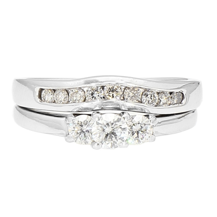 DIAMOND BRIDAL SET- 14K WHITE GOLD| 6.5G| 1.00CT TDW| SIZE 7.25""