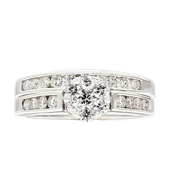 "DIAMOND BRIDAL SET- 14K WHITE GOLD| 7.1G| 1.50CT TDW| SIZE 7"""