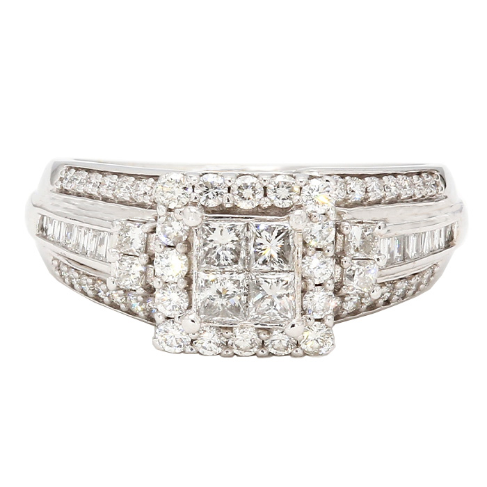 "DIAMOND ENGAGEMENT RING- 10K WHITE GOLD| 4.6G| 1.00CT TDW| SIZE 7"""