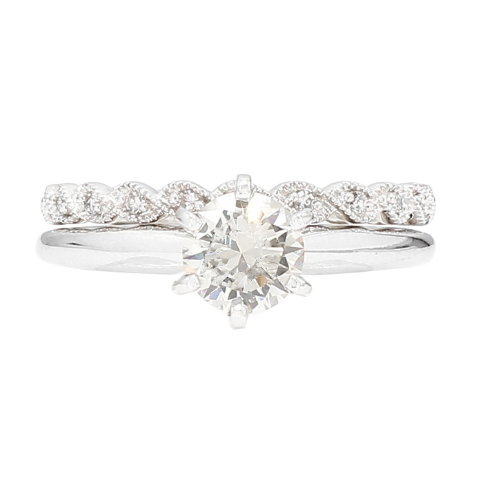 DIAMOND BRIDAL SET- 14K WHITE GOLD| 1.01CT(C)| 1.10CT TDW| SIZE 7.75""