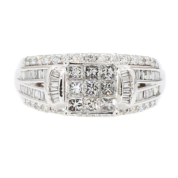 "DIAMOND ENGAGEMENT RING- 10K WHITE GOLD| 5.8G| 1.50CT TDW| SIZE 7.25"""
