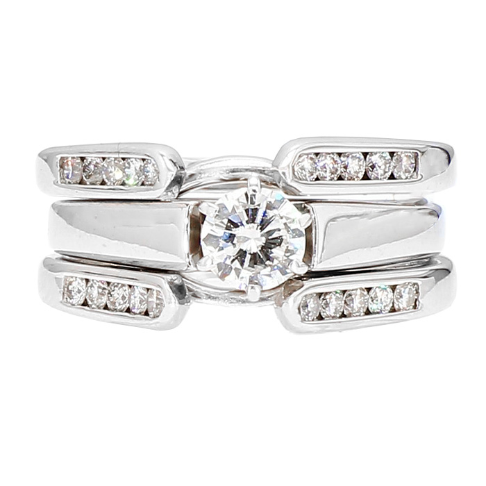 DIAMOND BRIDAL SET-14K WHITE GOLD| 9.4G| 0.51CT(C)| 0.95CT TDW| SIZE 7.50""