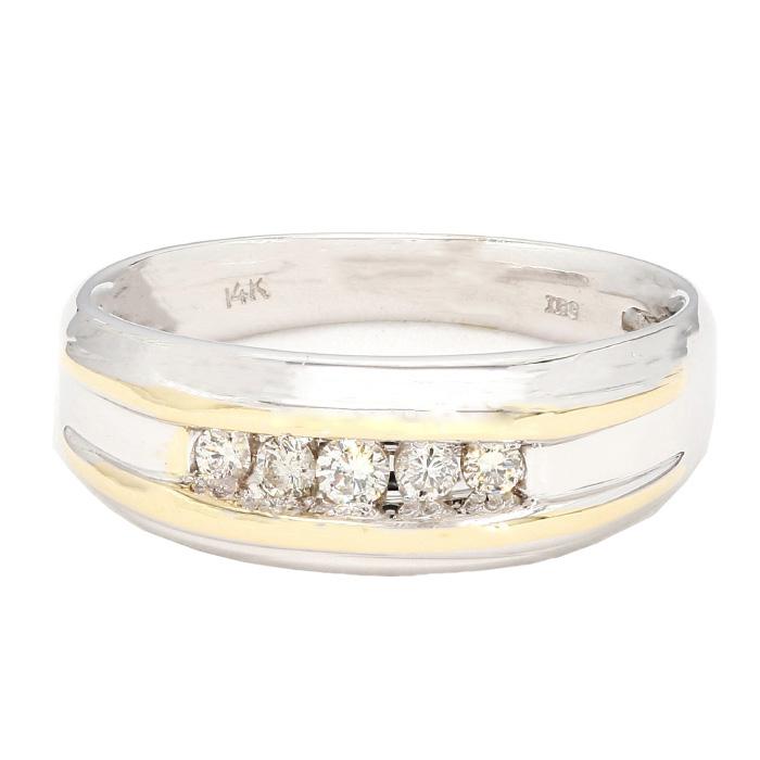 "MENS WEDDING BAND- 14K WHITE GOLD| 6.4G| 1/3RD CT TDW| SIZE 9.50"""