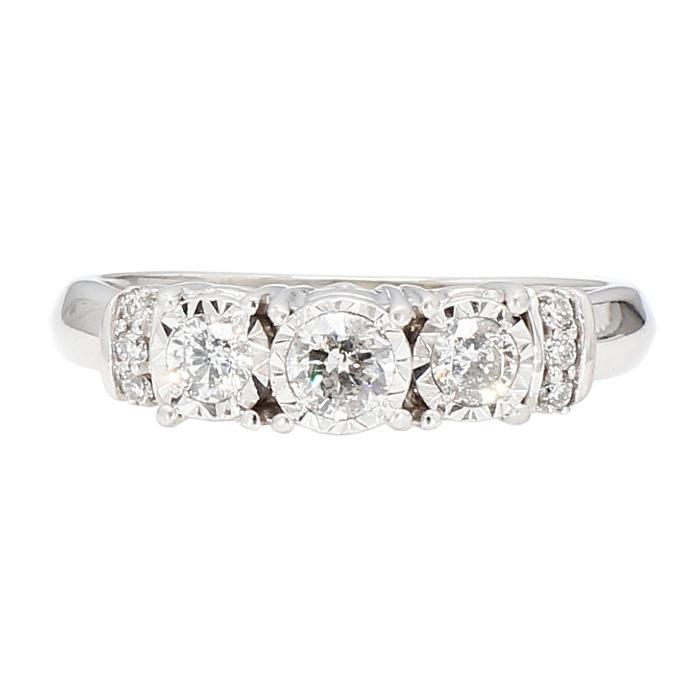 "DIAMOND ENGAGEMENT RING- 10K WHITE GOLD| 4.3G| 0.75CT TDW| SIZE 8.25"""