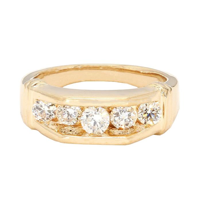 "MENS DIAMOND WEDDING BAND- 14K YELLOW GOLD| 9.4G| 1.00CT TDW| SIZE 8.50"""