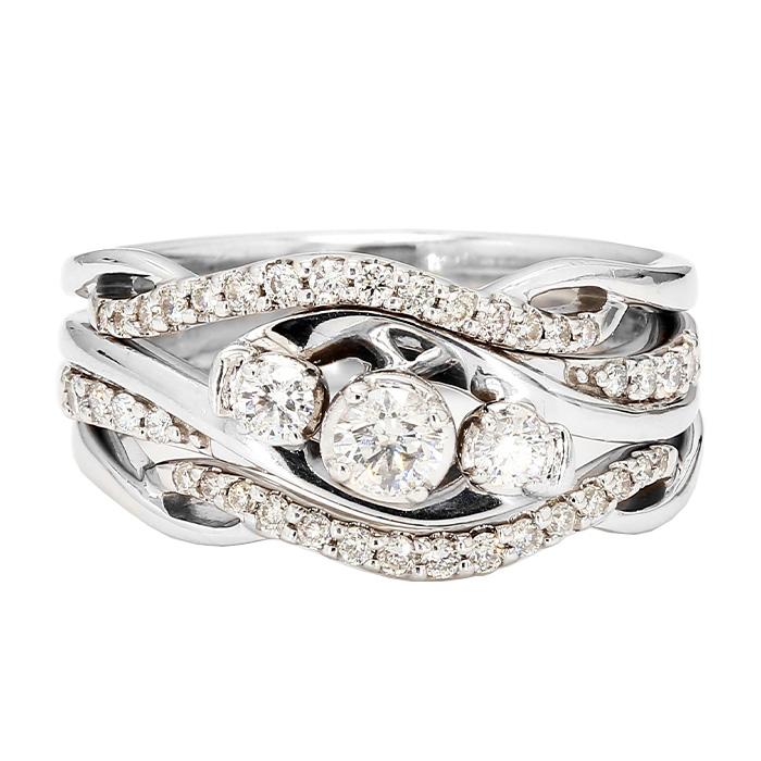 "DIAMOND BRIDAL SET- 10K/14K WHITE GOLD| 6.6G| 0.75CT TDW| SIZE 6.50"""