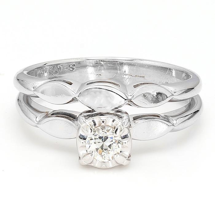 "DIAMOND BRIDAL SET- 14K WHITE GOLD| 3.8G| SIZE 6.75"""