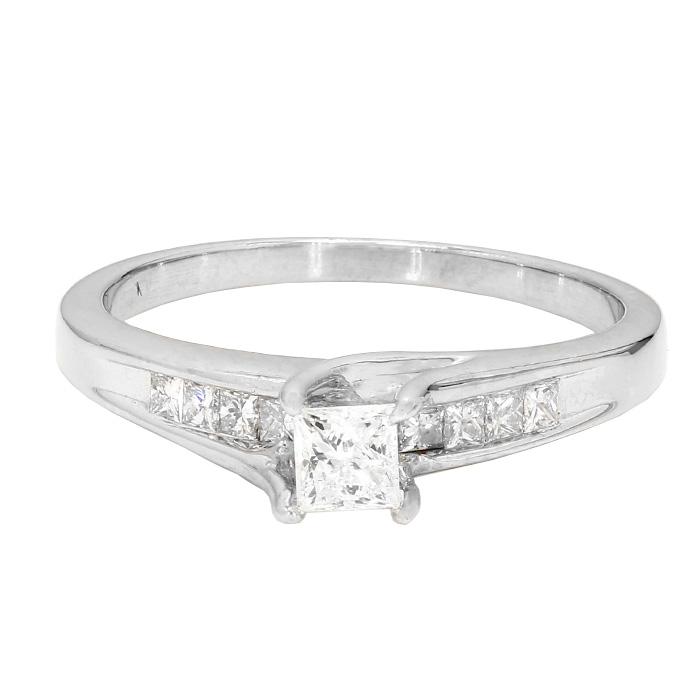 "DIAMOND ENGAGEMENT RING- 14K WHITE GOLD  4.4G  0.49CT(C)  1.25CT TDW  SIZE 11"""