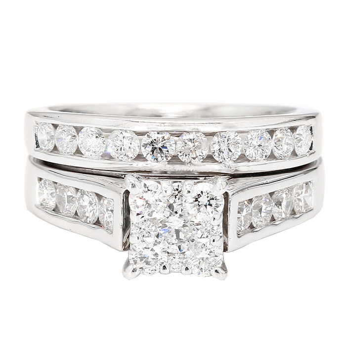 DIAMOND BRIDAL SET- 14K WHITE GOLD| 8.8G| 1.50CT TDW| SIZE 6.50""