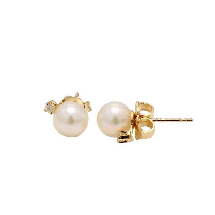 PEARL EARRING STUDS- 14K YELLOW GOLD| 0.9G