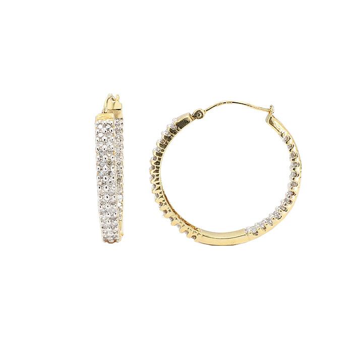 DIAMOND EARRING HOOPS- 14K YELLOW GOLD  4.2G  1.00CT TDW