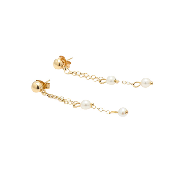 PEARL HANGINGS EARRINGS- 14K YELLOW GOLD| 1.0G