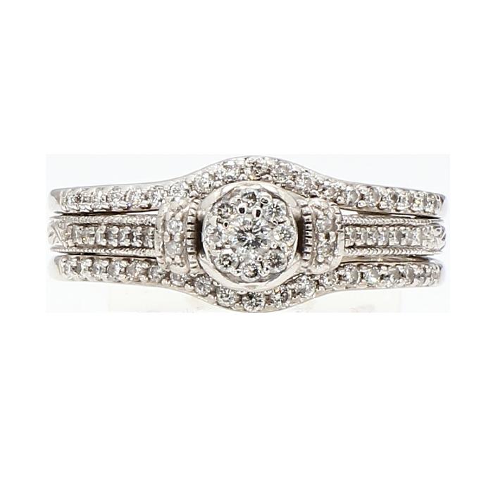 "DIAMOND BRIDAL SET- 14K WHITE GOLD  5.7G  1.00CT TDW  SIZE 6.75"""