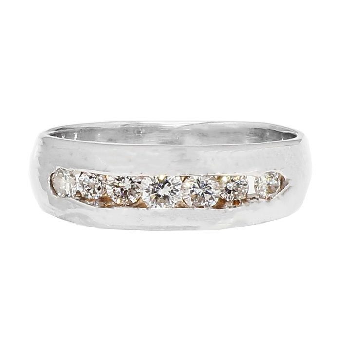 "DIMAOND WEDDING BAND- 14K WHITE GOLD| 5.3G| 0.75CT TDW- H/SI| SIZE 7"""